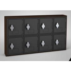 Walnut, Black Door, 8 Door, Hasp Lock Surface Mount Wood and ABS Cell Phone Locker