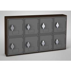 Walnut, Grey Door, 8 Door, Hasp Lock Surface Mount Wood and ABS Cell Phone Locker