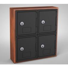 Cherry, Black Door, 4 door, Keyed lock Surface Mount Wood and ABS Cell Phone Locker