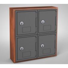 Cherry, Grey Door, 4 Door, Keyed Lock Surface Mount Wood and ABS Cell Phone Locker