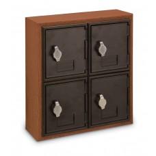 Cherry, Black Door, 4 Door, Hasp Lock Surface Mount Wood and ABS Cell Phone Locker