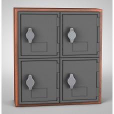 Cherry, Grey Door, 4 Door, Hasp Lock Surface Mount Wood and ABS Cell Phone Locker