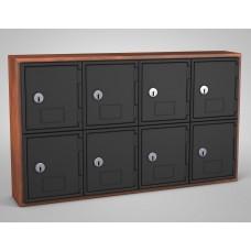 Cherry, Black Door, 8 door, Keyed lock Surface Mount Wood and ABS Cell Phone Locker