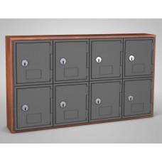 Cherry, Grey Door, 8 Door, Keyed Lock Surface Mount Wood and ABS Cell Phone Locker