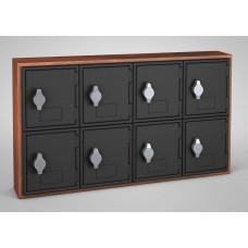 Cherry, Black Door, 8 Door, Hasp Lock Surface Mount Wood and ABS Cell Phone Locker