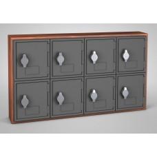 Cherry, Grey Door, 8 Door, Hasp Lock Surface Mount Wood and ABS Cell Phone Locker