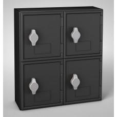 Black Frame / Black Door,  4 Door, Keyed Lock Surface Mount Wood and ABS Cell Phone Locker