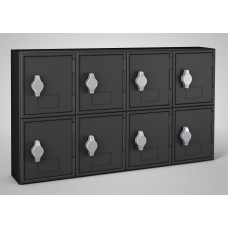 Black Frame / Black Door, 4 Door, Hasp Lock Surface Mount Wood and ABS Cell Phone Locker