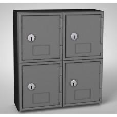 Black Frame / Black Door, 8 door, Keyed lock Surface Mount Wood and ABS Cell Phone Locker