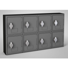 Black Frame / Black Door, 8 Door, Hasp Lock Surface Mount Wood and ABS Cell Phone Locker